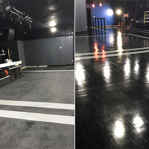 Floor Stripping & Waxing Before After